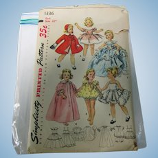 "Simplicity #1336 22"" Sweet Sue Doll Pattern Uncut"