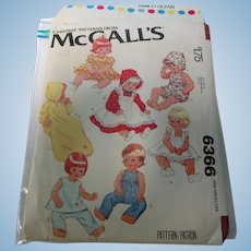 "Vintage  McCall's # 6366 - 15 1/2""-17"" Baby Doll Pattern Uncut"