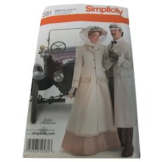 Simplicity 2581 Edwardian Car Coat Unisex Pattern Uncut