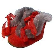 Vintage Old Red Felt Boots For Dolls