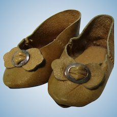 "Antique 3"" French Fashion Doll Slipper Shoes"