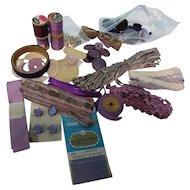 Vintage Lot of Lavender Trims Buttons +
