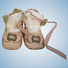 """Vintage 2 1/2"""" Pink Leather Heeled Doll Shoes"""