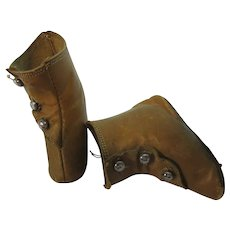 """Vintage 2 3/4"""" Tan Leather French Fashion Doll Boots"""