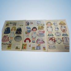 3 Dolly Dingle Grace Drayton Paper Dolls Sheets 1919
