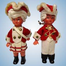"Vintage Pair 6"" Celluloid Dolls 18Th Clothes"