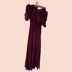 1930's Berry Burgundy Silk Velvet Bustled Gown