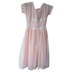 Vintage 1950's Pink Flocked Day Dress