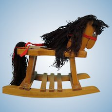 Vintage Doll Size Wood Rocking Horse Toy