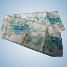 "Vintage 10"" W Blue Floral  French Water Silk Ribbon 46"" L"