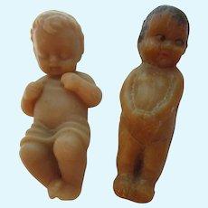 """2 Vintage 3"""" Soap Baby Dolls w Wood Crib"""