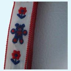 "Vintage 10/16"" Embroidered Teddy Bear Trim 2+ Yds"