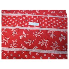 Vintage Red & White Floral Print Fabric 1 Yard Long