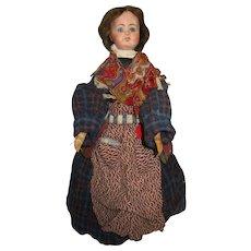 "Antique 18"" Wood Body Paper Mache German Doll A/O"