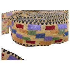 "Art Deco 1 3/4"" Woven Trim Colorful Grid Pattern 23 YARDS"