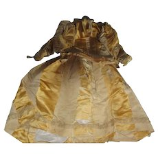 Vintage Large French Fashion Yellow Gold Taffeta Doll Dress AS IS