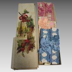 1920's Set of 3 Pair Silk Ribbon & Crochet Flapper Garters in Old Christmas Box