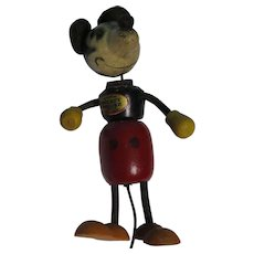 "Vintage 4"" Walt Disney Jointed Wood Mickey Mouse Toy VGC"