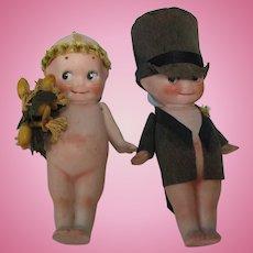"""Vintage Early Pair of 4"""" All Bisque Kewpie Dolls Dressed as Bride & Groom A/O"""