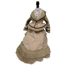 "Artist Hand Made 4 Pc 1876 French Fashion 18""-20"" Walking Doll Dress"