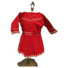 Vintage Red Cotton Embroidered Doll Dress