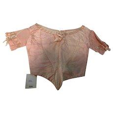 Antique Early Civil War Era Child Doll Pink Silk Bodice