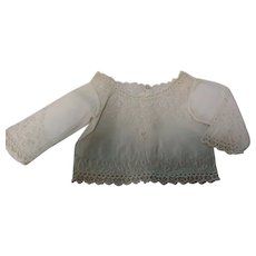 Antique White Cotton Embroidered Early Doll Bodice VGC