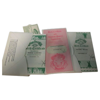Vintage Lot of 3 Cabbage Patch Doll Adoption Papers EC