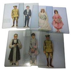 Rare Complete Set of 7 Antique Wedding Party Paper Dolls