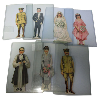 Rare Complete Set of 7 WWI Era Wedding Party Paper Dolls
