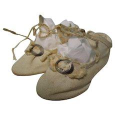 Antique Off White Cloth French Doll Shoes