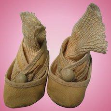 Vintage Composition Oil Cloth Doll Shoes + Socks