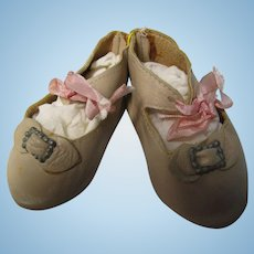Vintage Hand Made Kid Leather Large Doll Shoes