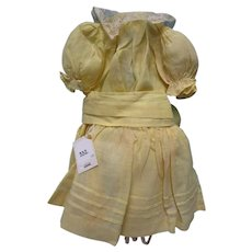 "Antique Yellow Organdy 21""-23"" Doll Dress"