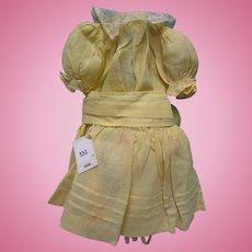 Antique Yellow Organdy Doll Dress 7 Pc Ensemble