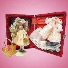 """Antique 4 1/2"""" All Bisque Doll w Wardrobe & Trunk"""