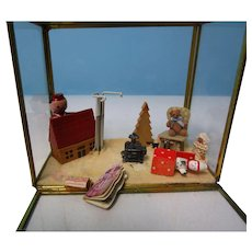 Vintage Small Doll Brass & Glass Display Case w Extras