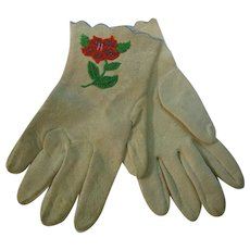 Vintage Texas Rose Beaded Leather Gloves MINT