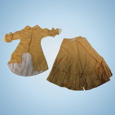Vintage 2 Pc Gold Cotton Sateen French Fashion Doll Dress