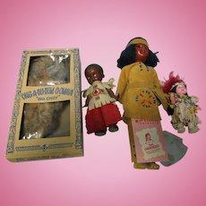 Vintage Lot of 4 Native American Indian Dolls