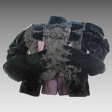 Victorian Women's  Black Silk Velvet Jacket