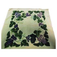 "Vintage 1800's 21"" Sq Printed Grapes Velvet Panel"
