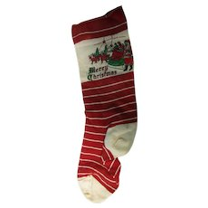 """Vintage 14 1/2"""" Merry Christmas Stocking Santa Sleigh"""
