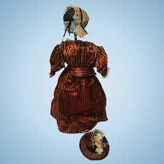 Early Antique Mid 1800's 4 Pc French Fashion Doll Dress