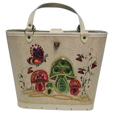 Vintage 60's Sequin Jeweled Bucket Purse Mushrooms