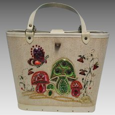 Vintage 60's Sequin Jeweled Bucket Purse Mushrooms