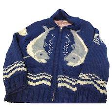 Vintage Hand Knit Sharks Wool Sweater Jacket L