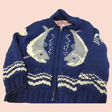 Vintage Hand Knit Sharks Wool Sweater Jacket L