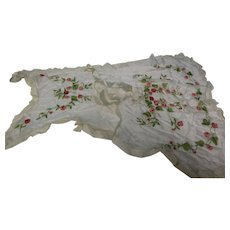 1920's French Silk Embroidered Ribbon Work Apron