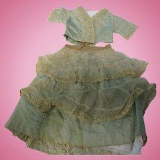 Antique Early Aqua Silk 2 Pc French Fashion Doll Dress